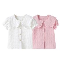 Baby Girl 2021summer solid t shirt kid child ruffles sleeve clothes t-shirts baby girl children t shirts 0-6T