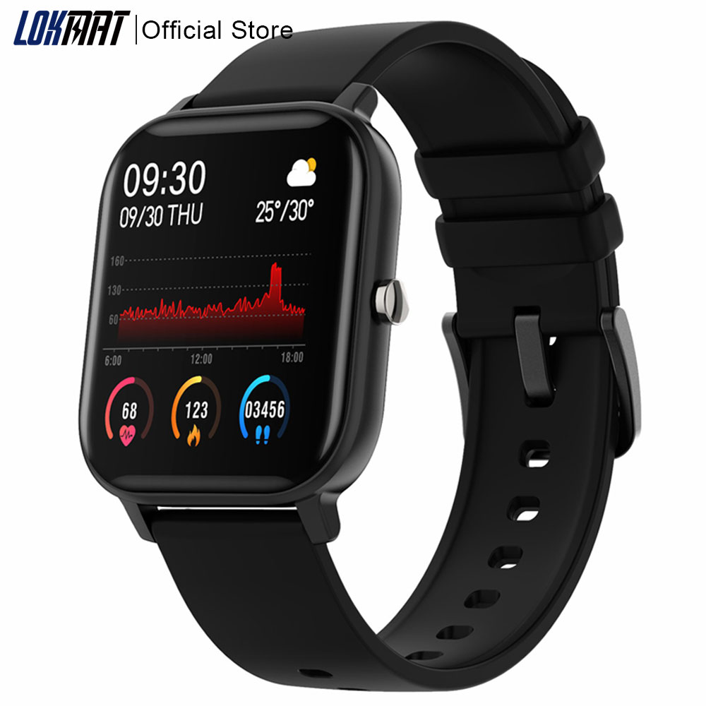 LOKMAT 1 4 inch Smart Watch Men Fitness Tracker Full Touch SMS Push Blood Pressure Clock GTS Smartwatch Women for Android Ios