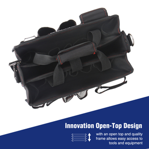 Image 3 - WORKPRO 600D Shoulder Tool Bag with Center Tray Waterproof Tool Kits Bags Pockets for Electrican Bags