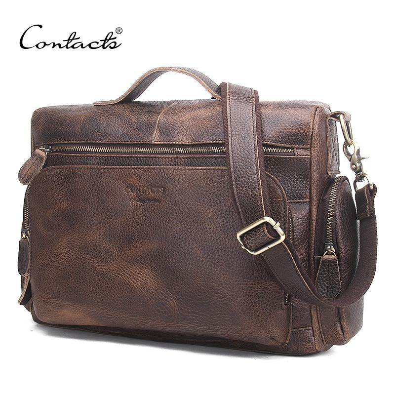 Men Briefcase Handbag Totes Messenger-Bag Travel-Bag Vintage Genuine-Leather Male Big