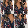 2021 Women's Chiffon Shirt Net Yarn Floral Embroidery Blouse Female Deep V-Neck Long-Sleeved Stitching Casual Women's Blouse 2