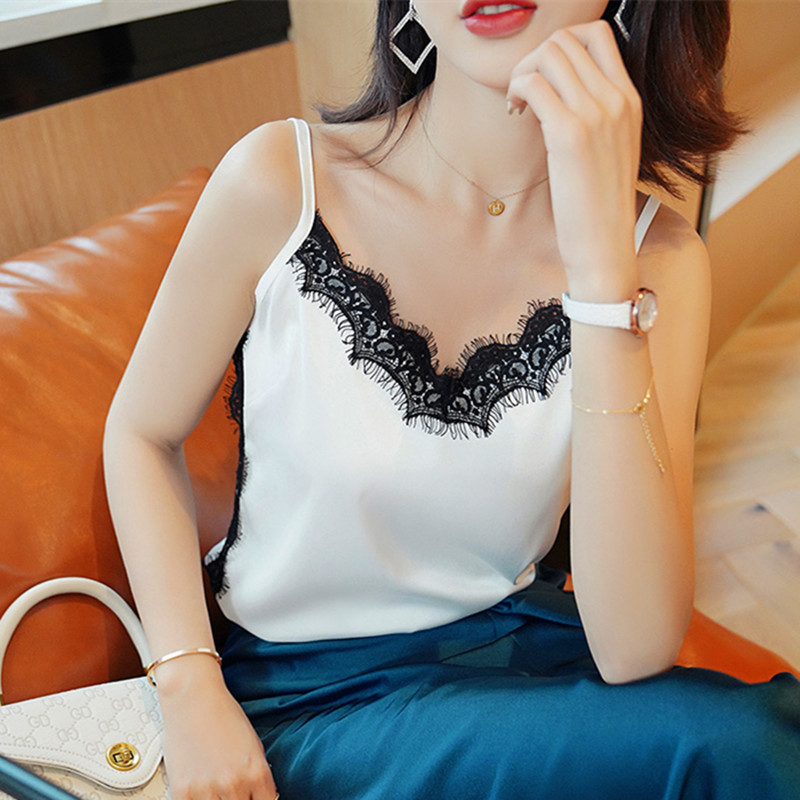 Korean Silk Women Tops Camis Sexy Woman Black Lace Satin Tank Top Woman Sleeveless Camis Tops Plus Size Women Silk Halter Top