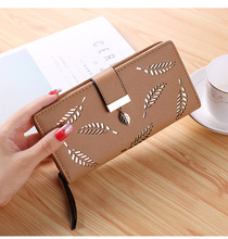 Female Long Wallet Gold Hollow Leaves Pouch Handbag For Women Coin Purse Card Holders Clutch Women Wallet PU Leather Purse new women wallet canvas coin purse travel organizer 8 color floral women storage bag day clutch card holders women purse h21