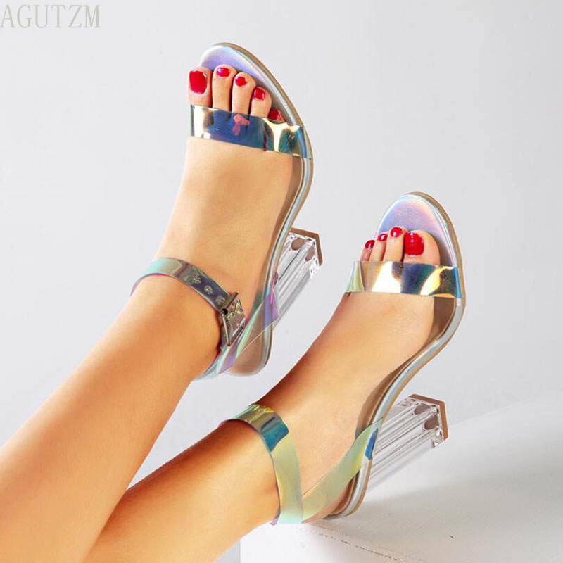 Women Sandals Shoes Celebrity Wearing Simple Style PVC Clear Transparent Strappy Buckle Sandals High Heels Shoes Z120