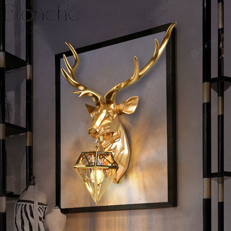 Gold Deer Wall Lamp Resin Antler Wall Light Fixtures Sconce for Bedroom Bedside Lamp Living Room Led Mirror Light Art Luminaire