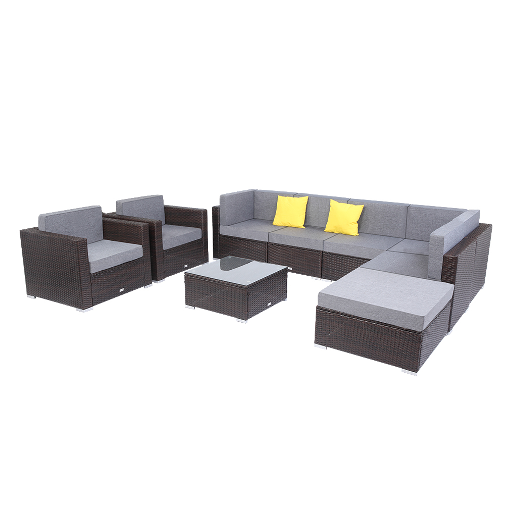 【US Warehouse】9 Pcs Outdoor Furniture Rattan Wicker Sofa Patio Couch Set