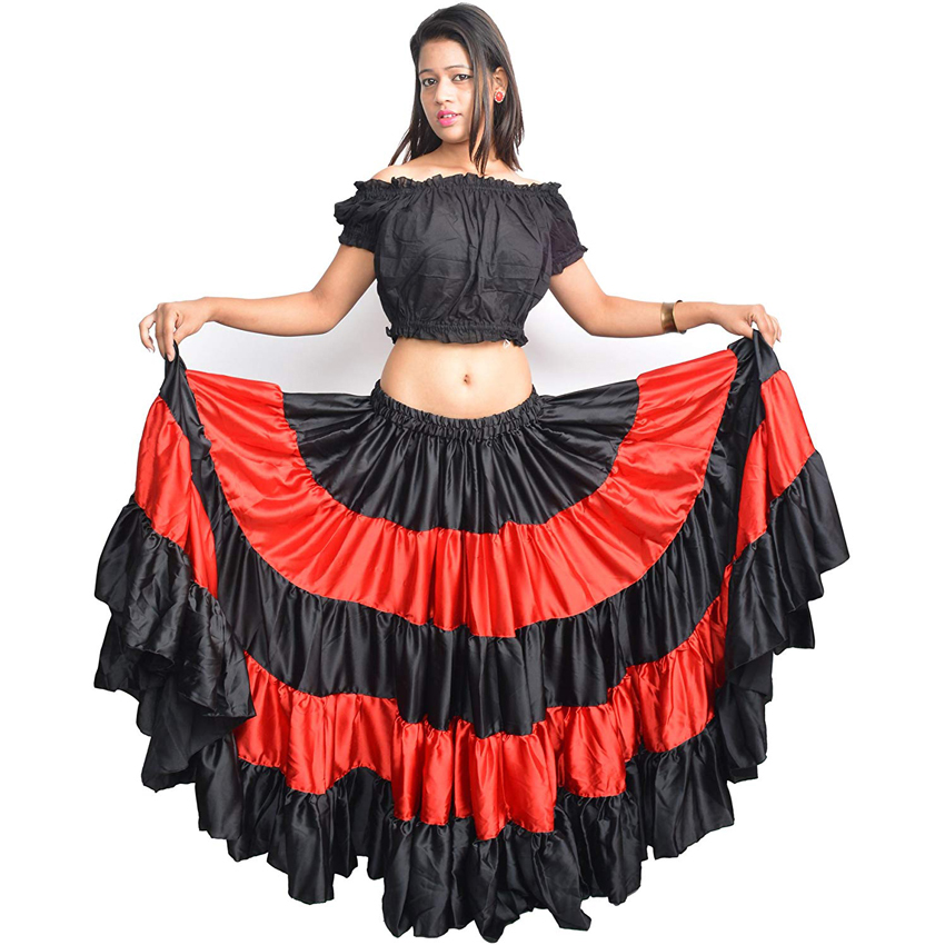 Red Traditional Spanish Flamenco Skirt Gypsy Women Dancing Costume Striped Satin Smooth Big Swing Belly Skirt Performance 90cm