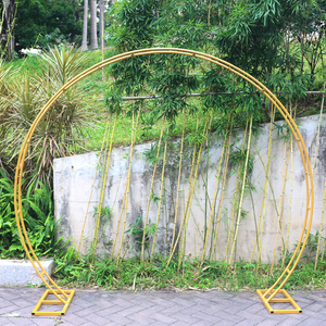 Image 2 - JAROWN New Wedding Double Ring Single Pole Arch Round Wedding Decoration Flower Stand Home Party Background Decorative Shelf