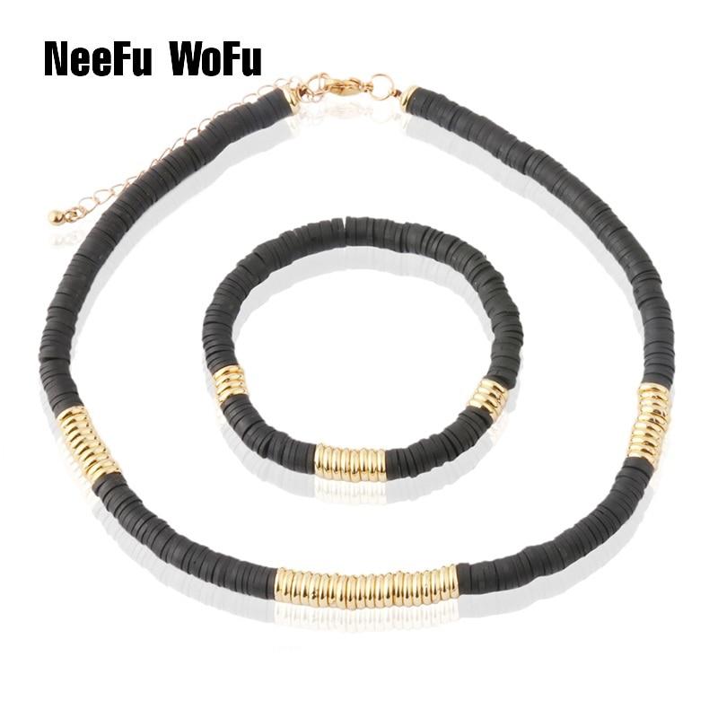 NeeFu WoFu bead Bracelet Set of chains Soft pottery Bracelets For Women Nationality stainless steel Bracelet Beach Jewelry