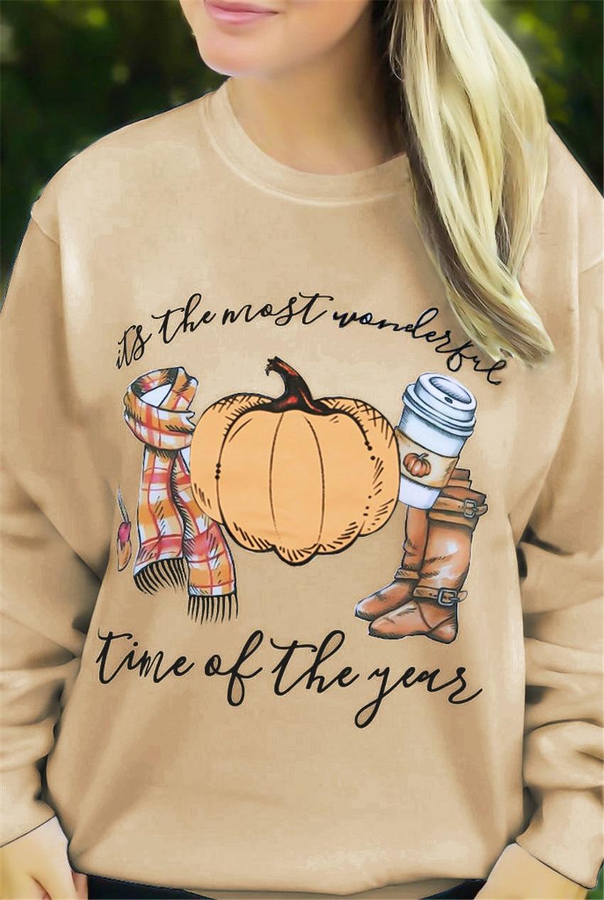 Halloween Sweatshirts Pumpkin Top Women Letter Print Hoodie Khaki Sweatshirts Autumn Pullovers Halloween Clothe Women 2019 Tops