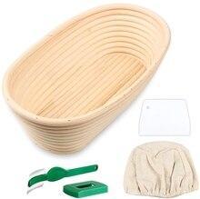 Oval Bread Proofing Basket, Handmade Banneton Bread Proofing Basket Brotform with Bread Lame, Dough Scraper, Proofing Cloth Line bread