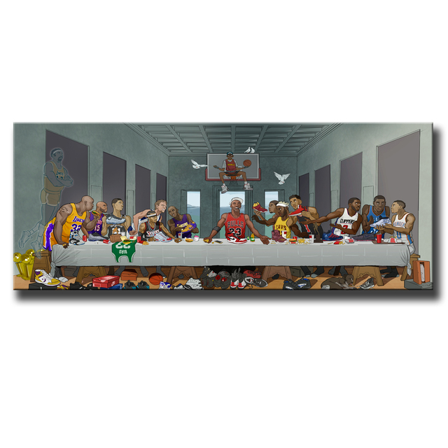 Basketball Players Last Supper HD Painting Printed on Canvas 3