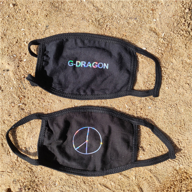 KPOP G-Dragon Printing Laser Mask Dustproof Face Mask Outdoor Mask PEACEMINUSONE FH554 3