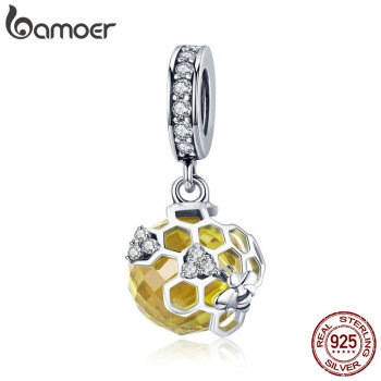 BAMOER Trendy 925 Sterling Silver Honeycomb Bee Pendant Yellow CZ Cubic Zircon Charm fit Charm Bracelet DIY Jewelry SCC879 bamoer valentine day gift 925 sterling silver cheers for love couple beer pendant charm fit charm bracelet diy jewelry scc478