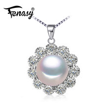 FENASY 925 Sterling Silver Jewelry Natural Freshwater Pearl Necklace For Women Choker Necklace Cute Flower Pendant(China)