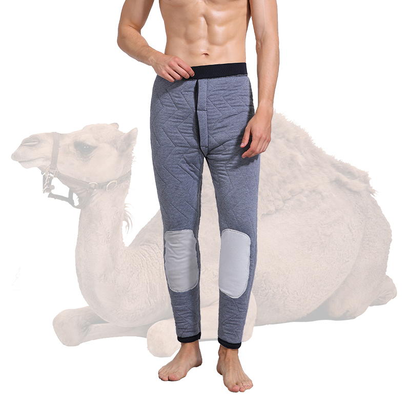 2019 Winter Thickened Camel Hair Thermal Pants Male Warm Knee Thicken Thermal Underwear Trousers Men's Warm Pants