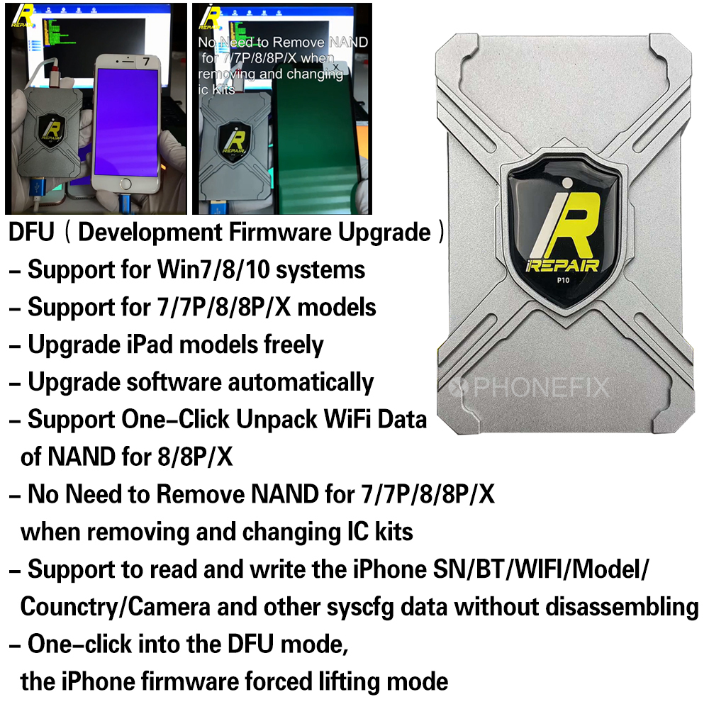 IRepair P10 DFU Box / IBox DFU For IPhone&iPad One-click Into DFU Development Firmware Upgrade Unpack WiFi And All Syscfg Data