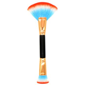 Podwójnie zakończone pędzle do makijażu praktyczne szczotka w kształcie wachlarza + płaska szczoteczka wielofunkcyjne kosmetyki narzędzie dla kobiet akcesoria do makijażu twarzy tanie i dobre opinie EH-LIFE Jedna jednostka CN (pochodzenie) Włosy syntetyczne make up brushes Length 21 5 Hairbrush Width3 5-5 7Cm podkład