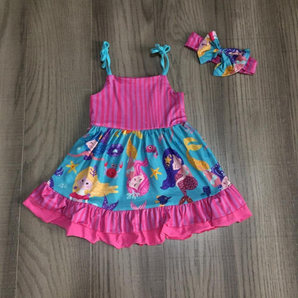 Baby Girls Clothes Girls Summer Dress Girls Rose Red Cotton Dress Girl Mermaid Dress With Bow