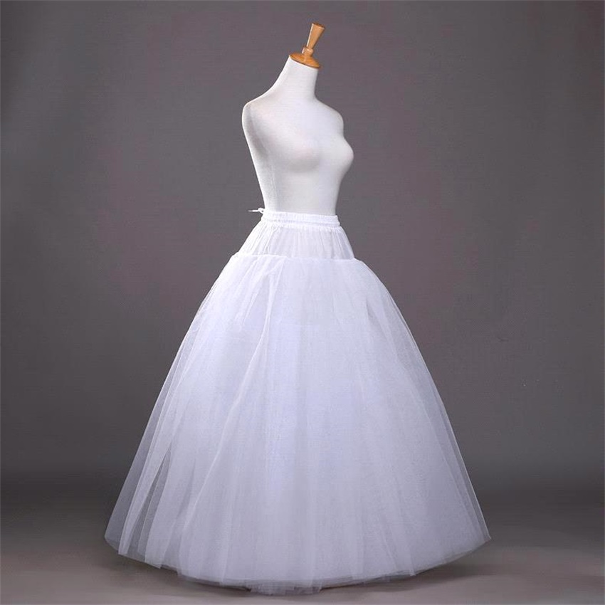 NUOXIFANG 2020 Cheap White A-line Wedding Accessories Ball Gown Tulle Hoopless Petticoat Crinoline Skirt Waist Adjustable Jupon