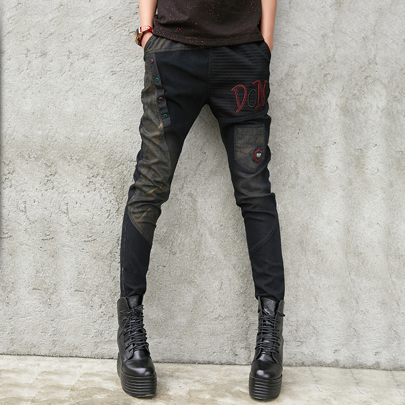 #2234 Black Denim Pencil Pants For Ladies Plus Size Slim High Steert Trousers Girl Pockets Patchwork Mesh Jeans Fashion Korean