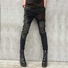 #2234 Black Denim Pencil Pants For Ladies Plus Size Slim High Steert Trousers Gi