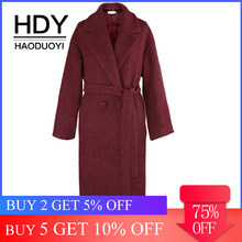 HDY haoduoyi Simple Loose Commute Elegant Temperament Style Belt Silhouette Long Coat(China)