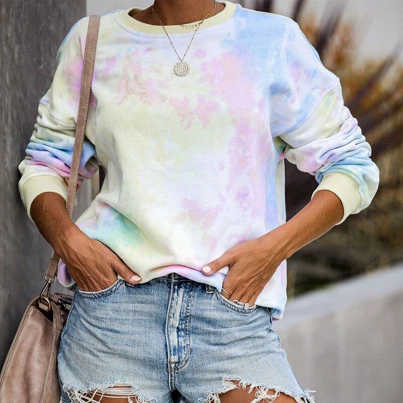 Sudaderas Mujer Harajuku Solid Sweatshirt Women Long Sleeve Hoodie Loose Women Hoodie Sweatshirts Casual Tracksuit Rainbow Print