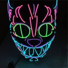Halloween EL Flashing Cosplay Mask Glowing Dance Carnival Party Masks For Decoration Props