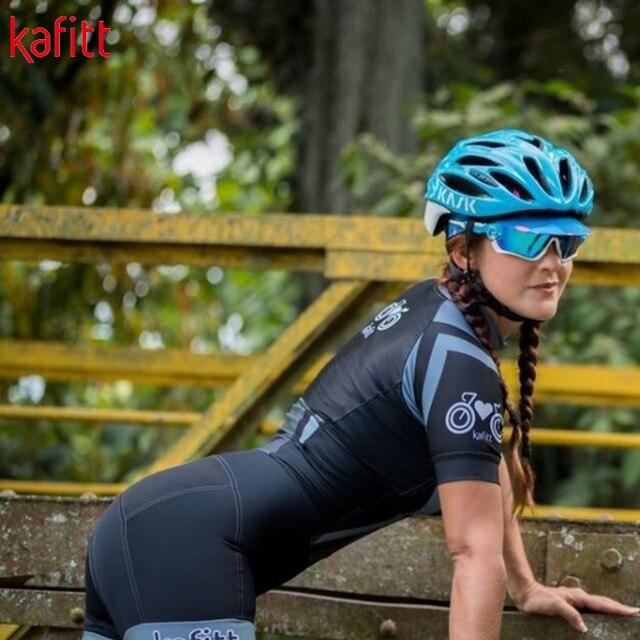 Kafitt pro camisa de ciclismo de manga curta das mulheres terno da bicicleta de estrada roupas esportivas macacão de corrida uniforme bib shorts ciclismo 4