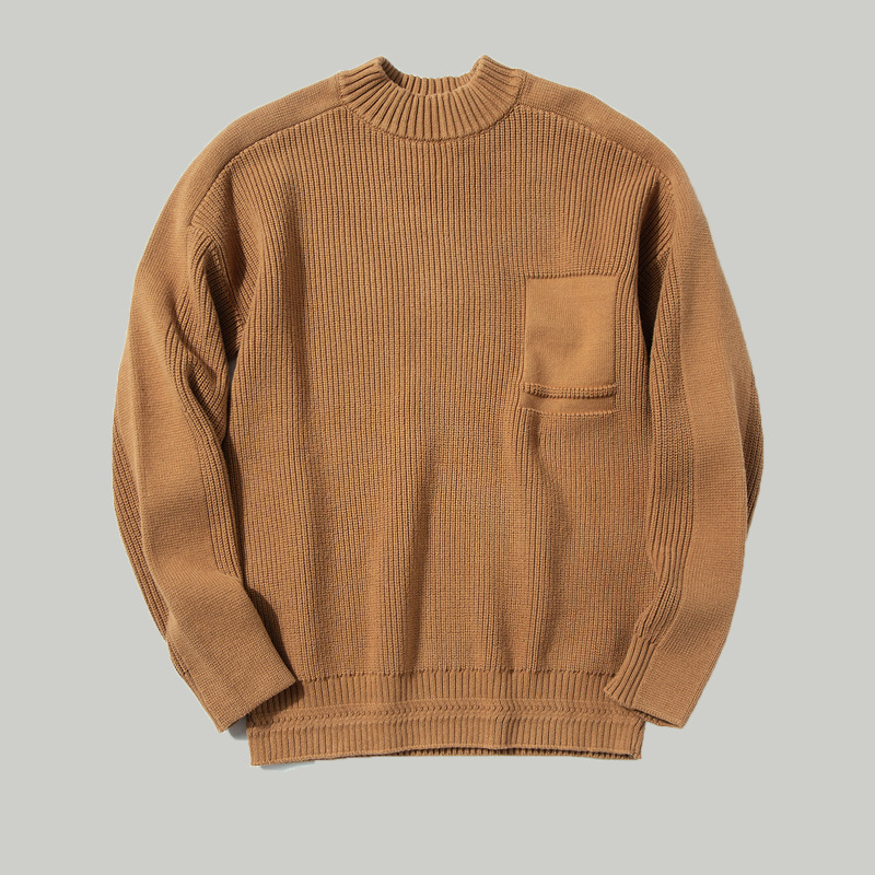 Men'S Winter Fashion Turtleneck Solid Color Long Sleeve Pullover Sweater Male Thicken Top Quality Jacquard Craft Casual Knitwear