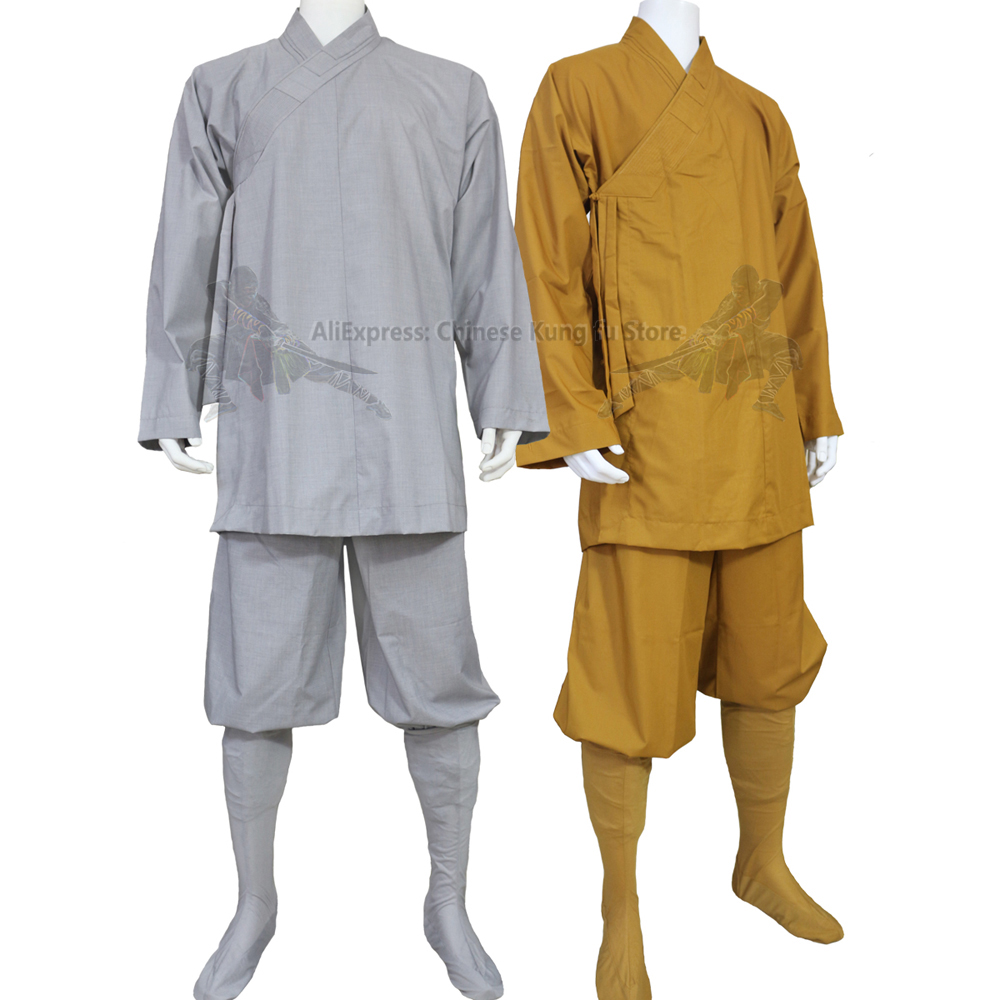Shaolin Dress Buddhist Monk Mens Cotton Meditation Long Robes Gowns Kung Fu Suit