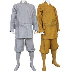 Хлопок шаолин буддийский монах халат Arhat кунг-фу Униформа боевые искусства костюм для медитации