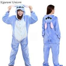 Kigurumi единорог пижамы Ститч взрослых животных Onesie женщин мужчин пара зима пижамы костюм кошка пижамы фланелевые пижамы
