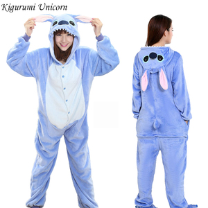 Kigurumi Unicorn Pajama Stitch Adult Animal Onesie Women Men Couple 2019 Winter Pajamas Suit Cat Sleepwear Flannel Pijamas(China)