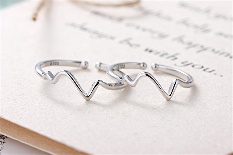 b PISSENLIT Hot Simple Adjustable Silver Ring Set Wave Ring Women Jewelry Korean Trendy Wedding Rings For Women Accessories Gifts