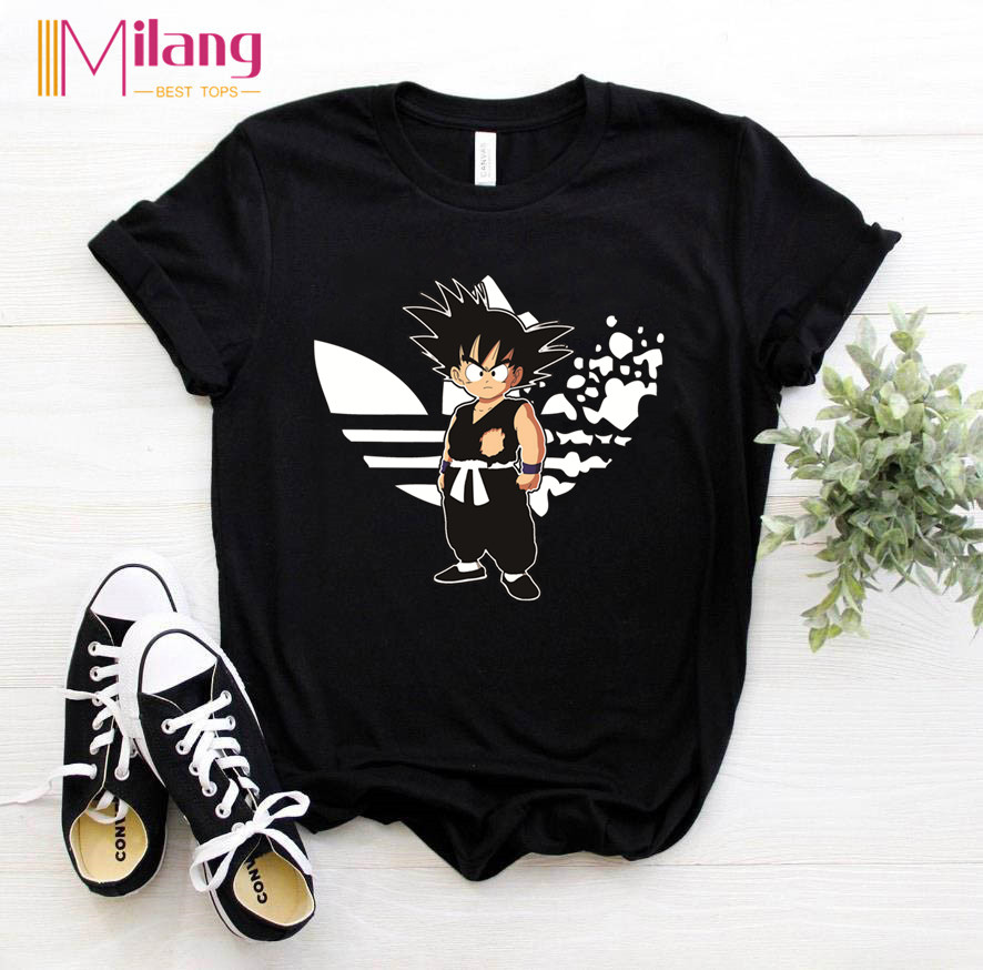 Women Goku DRAGON BALL Black T-shirts Female Short Sleeve Tees 2020 Summer Brand Harajuku Clothing Girl Tops