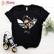 Women Goku DRAGON BALL Black T-shirts Female Short Sleeve Tees 2020 Summer Brand