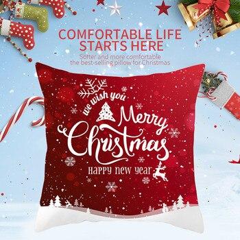 Funda de almohada de algodón con decoración navideña, 45x45cm, para sofá