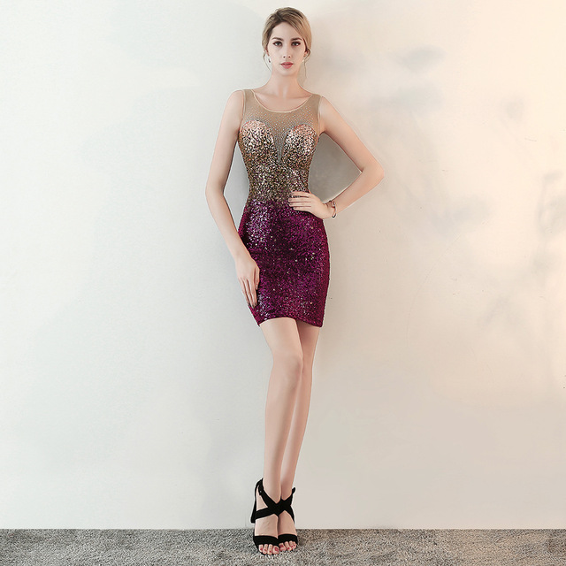 Women's Sequin, Mermaid Formal Short Evening Dress With Sexy Deep V Neck
