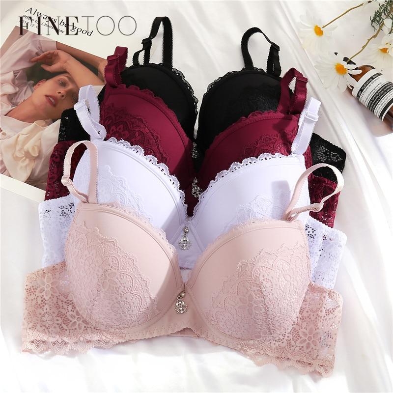 FINETOO-Sujetador de encaje Floral con aros para mujer, lencería Sexy, Push Up, Top acolchado, ropa interior de talla grande, copas B y C