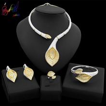 Yulaili Fashion Leaf Shape Silver Color Crystal Necklace Stud Earring for Women Party Gift Dubai Gold Jewelry Sets wholesale