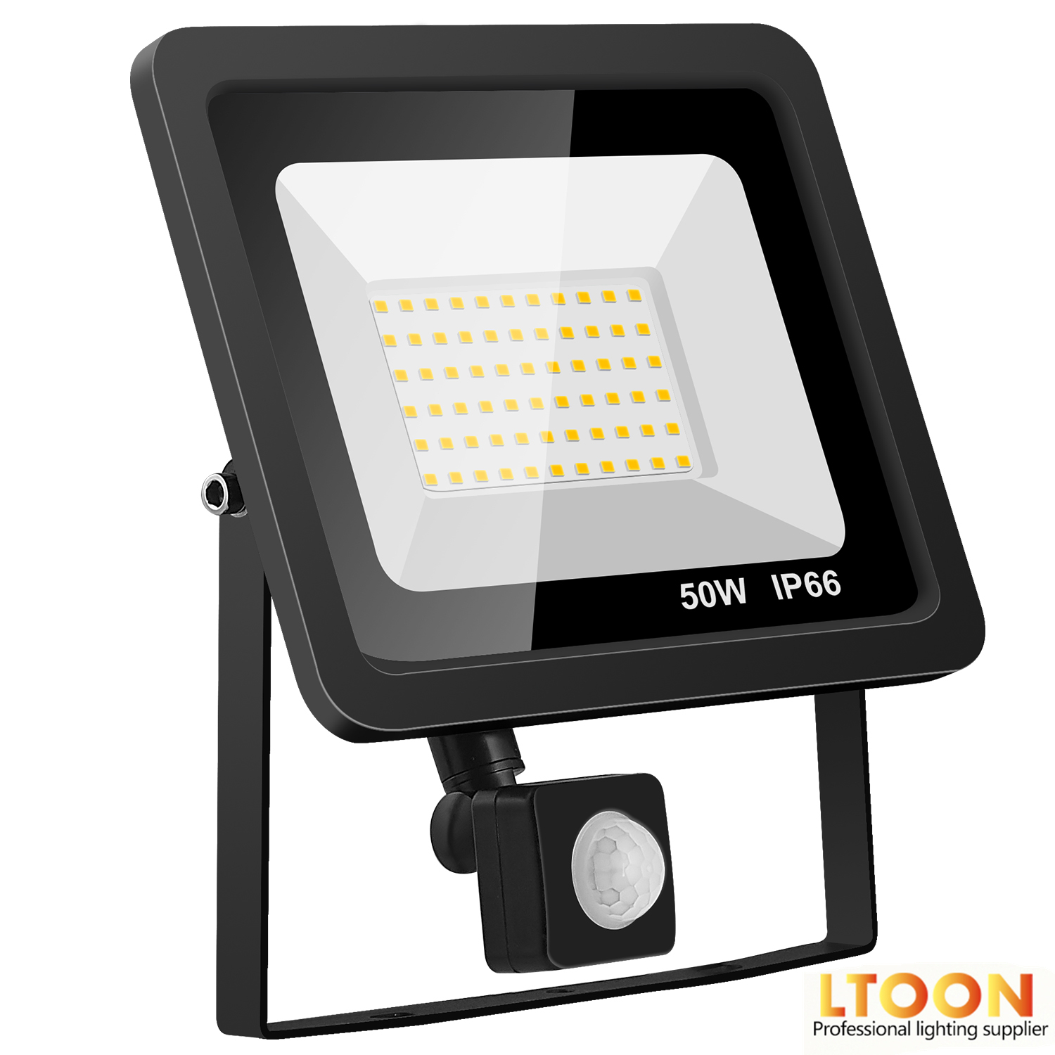LTOON 10W 20W 30W 50W 100W Led Flood Light With Adjustable PIR Sensor SMD 2835 Floodlights Outdoor Lighting For Street Square