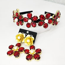 Baroque Vintage Gold Red Crystal Bridal Jewelry Rhinestone Tiaras Crown Earrings Set Wedding Accessories(China)