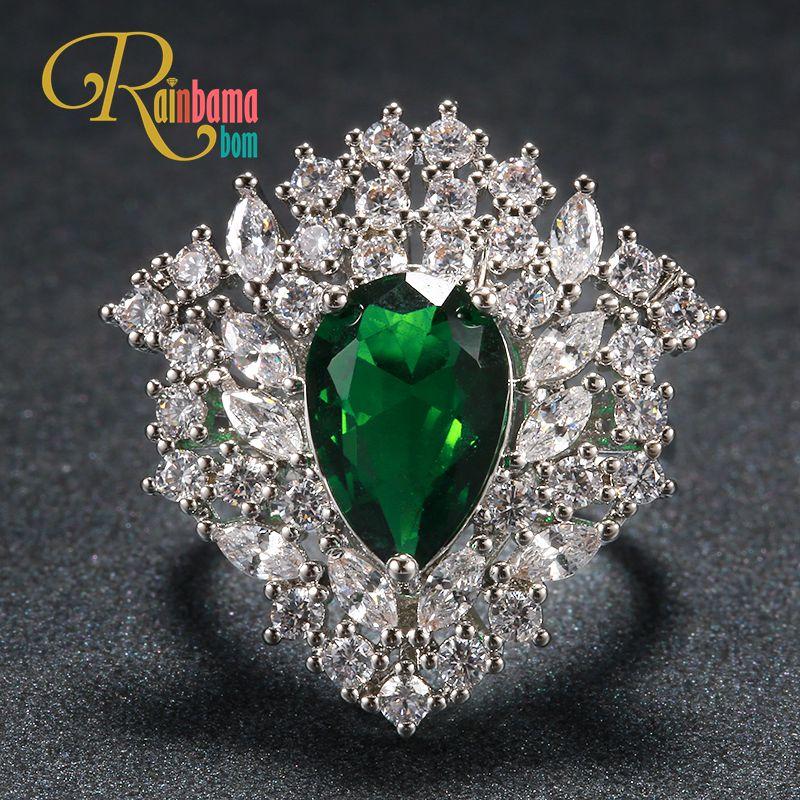 Rainbamabom Luxury 925 Solid Sterling Silver Created Moissanite Emerald Gemstone Birthstone Cocktail Ring Fine Jewelry Wholesale