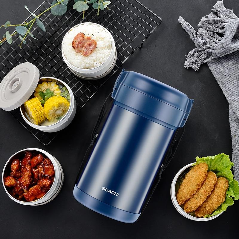 BOAONI 2000 мл пищевой Ланч бокс из нержавеющей стали контейнер для горячего супа вакуумная колба термос изолированный кухонный школьный Ланч бокс es - 6