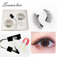 New 2pairs Magnetic Eyelashes 3D False Mink Eyelashes Magnet Lashes Magnetic eyelashes&clip set Eyelash Extension makeup tool недорого