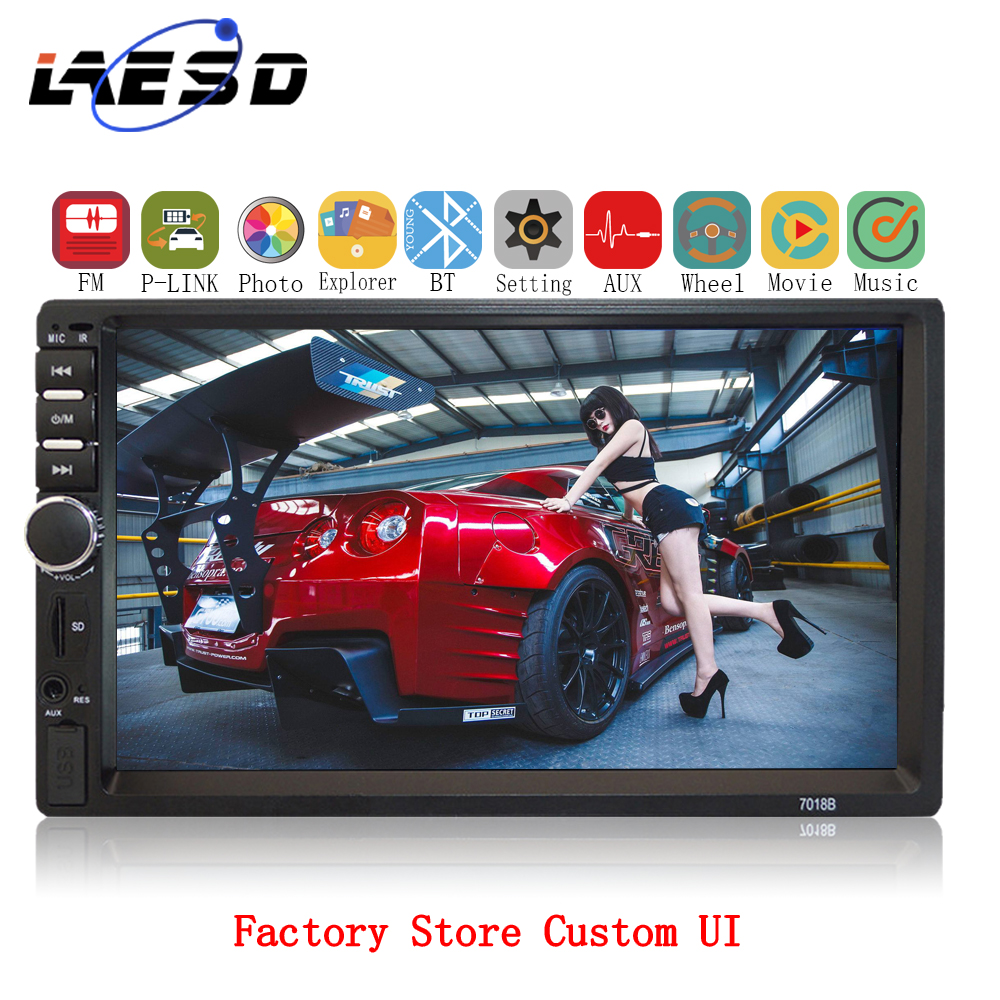 2Din Car Radio <font><b>7018b</b></font> Autoradio 7''1080P HD Touch Screen <font><b>podofo</b></font> WINCE MP5 Player Rear View BT FM ISO SD USB Auto Radio doble din image