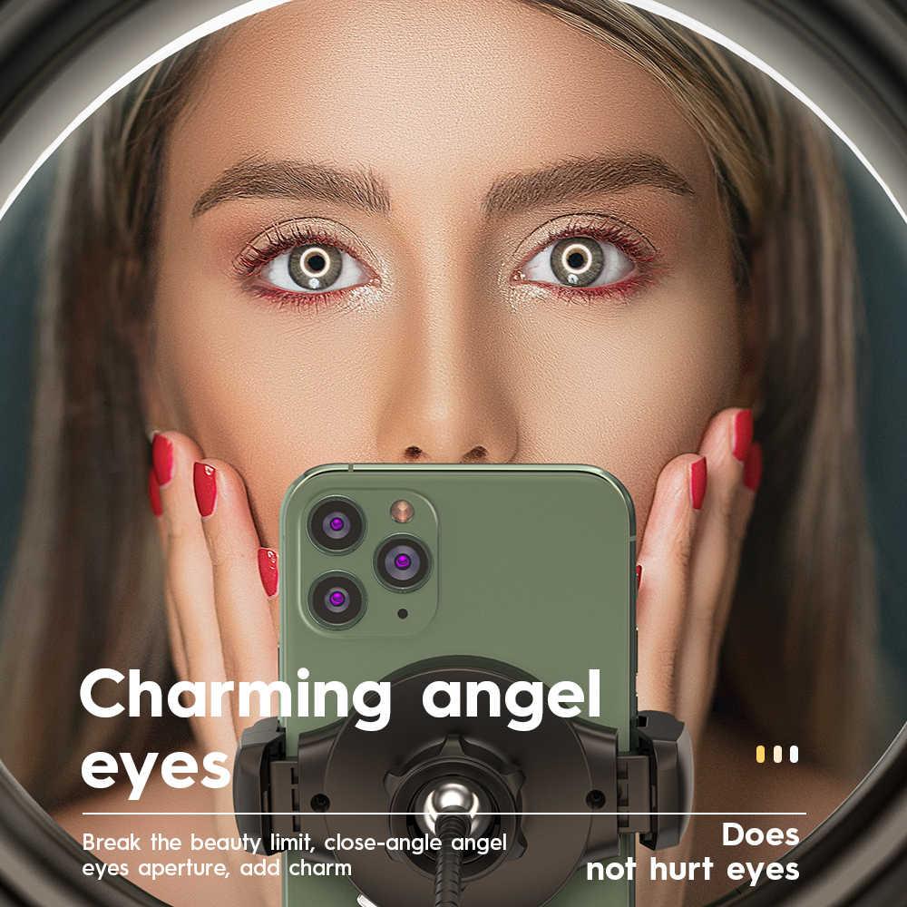 Hoco 12 polegada led selfie anel de luz com suporte 3 telefone titular tripés 3 cores iluminação para youtube live stream vídeo fotografia