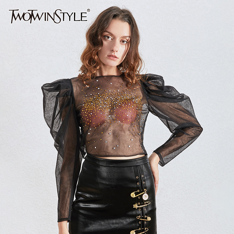 TWOTWINSTYLE Patchwork Diamonds Women For Blouse O Neck Puff Long Sleeve Tunic Ruched Perspective Shirt Female 2020 Fashion Tide